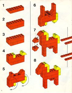 Thousands of complete step-by-step printable older LEGO® instructions for free. Here you can find step by step instructions for most LEGO® sets. Lego Duplo, Lego Basic, Lego Design, Easy Lego Creations, Technique Lego, Lego Therapy, Construction Lego, Lego Challenge, Lego Animals