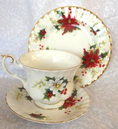 Christmas Dessert Set Cup Saucer Cake Plate  by FanisTreasures, $25.00