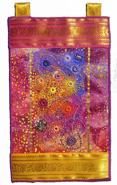 """This is my own interpretation of Rajasthan, north of India where I spent 3 weeks in October 2007. Shisha is a traditional method to name the mirror embroidery.  Silk thread on cotton batik, sari borders Hand beading , Machine embroidery 50cm x 30cm, 20"""" x 12"""""""
