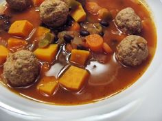 Gluten & Egg Free Mexican Meatball Soup with Butternut Squash | Real Sustenance