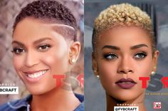 These Celebs Were Photoshopped With Short Natural Hair And They Look So Damn Good - pongha. Natural Hair Short Cuts, Blonde Natural Hair, Short Natural Haircuts, Tapered Natural Hair, Natural Hair Twists, Natural Hair Updo, Short Curly Hair, Short Hair Cuts, Curly Hair Styles