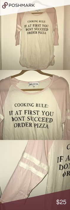 "Wildfox Sleep Shirt Wildfox Pajama Top - Long Sleep Shirt With Baseball Sleeves.   ""COOKING RULE: IF AT FIRST YOU DONT SUCCEED ORDER PIZZA"" Wildfox Intimates & Sleepwear Pajamas"