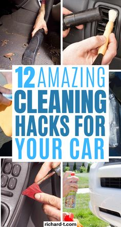 These lazy girl car cleaning hacks are so genius! Try these DIY cleaning hacks at home and clean your car inexpensively! These car cleaning tips and tricks are super clever! Cleaning Car Windows, Diy Car Cleaning, Cleaning Car Upholstery, Household Cleaning Tips, Diy Cleaning Products, Spring Cleaning, Kitchen Cleaning, Bathroom Cleaning, How To Clean Headlights