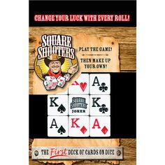 Square Shooters Dice Game: The 9 Square Shooters® Dice are printed with a full deck of 52 cards plus 2 jokers—you can use them to play almost any playing card game! The Square Shooters® game is a fast, fun family game designed to use these amazing dice!  $12.99  http://calendars.com/Dice-Games/Square-Shooters-Dice-Game/prod201200011282/?categoryId=cat490030=cat490030#