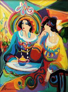 "Isaac Maimon ""Parisian Ladies"" Original Acrylic Canvas 40x30"" Gallart | eBay"