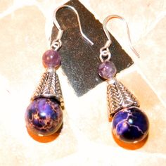 Boho Earrings. Purple Crazy Lace Agate.  by BohoEarthDesigns