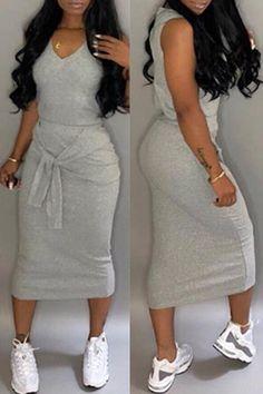 Solid V-neck Bandage Sleeveless Casual Dress Casual Wear, Casual Dresses, Casual Outfits, Fashion Dresses, Cute Outfits, Maxi Dresses, Curvy Fashion, Look Fashion, Plus Size Fashion