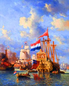 Dutch mariness capture the Royal Navy's prized flagship HMS Royal Charles and hoisting up the Dutch flag during the Raid on Medway Anglo Dutch Wars, Old Sailing Ships, Dutch Golden Age, Tall Ships, Royal Navy, Warfare, Trauma, Tropical Garden, Yachts