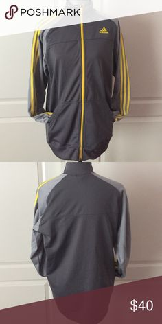 Men's Adidas track jacket Men's adidas track jacket. Charcoal, gray, and yellow lines on the sleeve. Adidas Jackets & Coats Lightweight & Shirt Jackets