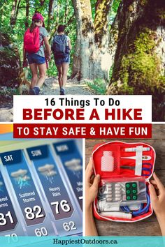 How should you prepare for a hike? Use this list of 16 things to do before every hike to get ready. Find out what to bring hiking, what to research, how to avoid getting lost, what to eat, and lots more. Stay safe and have fun on every hike by doing some preparation before you go. Hiking safety. What to do before a hike. How to get ready for a hike. Backpacking Tips, Hiking Tips, Camping Tips, Rv Travel, Travel Tips, Safety And First Aid, Book Cheap Hotels, Hiking Backpack, Stay Safe