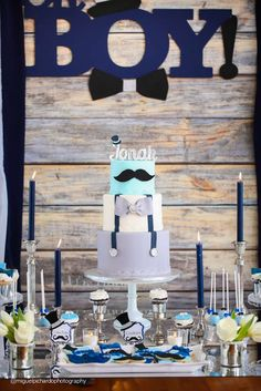 Little man mustache baby shower birthday party! See more party planning ideas at CatchMyParty.com!