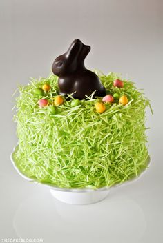 Chocolate Easter Bunny Cake - how to decorate this easy cake for Easter dessert, using edible grass, a chocolate Easter bunny and candy eggs. Cupcake Easter, Easter Bunny Cake, Chocolate Easter Bunny, Hoppy Easter, Easter Treats, Easter Cake Coconut, Easter Food, Easter Recipes, Holiday Recipes
