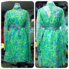 Vintage 1960s dress / 60s green floral party dress / 1960s chiffon dress / Large…