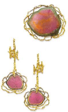 Gold and watermelon tourmaline earrings and brooch by Chaumet