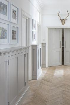 Panelling in Hallway with Herringbone Bleached Oak Floor Wainscoting Hallway, Tiled Hallway, Hallway Walls, Upstairs Hallway, Modern Hallway, Bungalow Hallway Ideas, Cottage Hallway, Entrance Hall Decor, Hallway Ideas Entrance Narrow