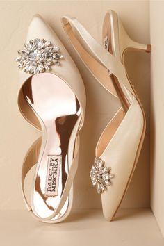 Salena Satin Heels Ivory in Shoes & Accessories   BHLDN