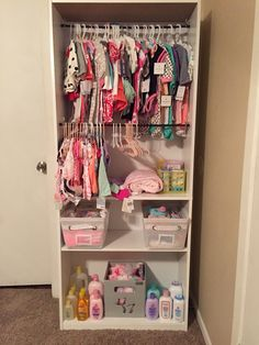 Baby Closet for Cheap! Walmart bookcase with tension rods and storage cubes. - Walmart Storage Ideas - Ideas of Walmart Storage Ideas - Baby Closet for Cheap! Walmart bookcase with tension rods and storage cubes. Baby Nursery Closet, Baby Bedroom, Baby Room Decor, Nursery Room, Baby Girl Closet, Room Baby, Girl Nursery, Baby Storage, Storage Cubes