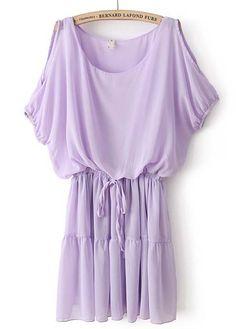 Purple Off the Shoulder Drawstring Waist Chiffon Dress