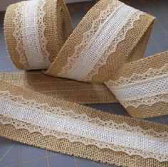 Ivory Burlap with Honey Lace on Natural Burlap by HouseofBurlap, $12.00