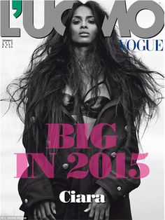 Cover girl: Ciara gave just a peek of a black leather bra on the latest cover of L'uomo Vo...