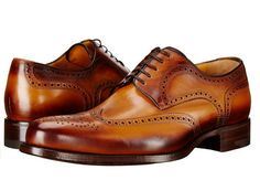 ef47f03bbc5 a.testoni Cognac Leather Mens Wingtip Oxfords