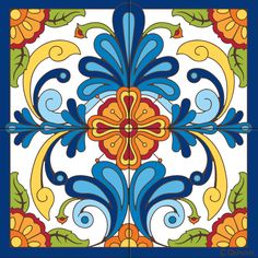 Mural Blue Talavera Design decorative art tile is hand painted and hard fired at over 1800 degrees making it ready for use indoors or outdoors Tile Murals, Tile Art, Design Rosa, Motif Arabesque, Talavera Pottery, Southwest Decor, Mexican Art, Tile Patterns, Floral Patterns