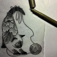 Peony cat tattoo design by Betty Rose #BettyRose #cat #linework #blackwork…