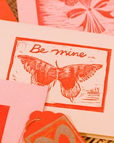 DIY block print Valentine cards.  I've always wanted to try making my own prints.