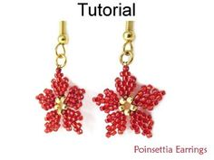 Beaded Poinsettia Flower Earrings Christmas Holiday Beading Pattern Tutorial by Simple Bead Patterns | Simple Bead Patterns