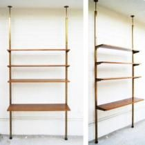But with a cabinet on the bottom  MID CENTURY tension shelf WALL UNIT shelving / div