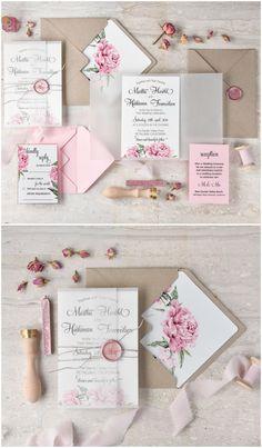 Pretty English Rose wedding invitations