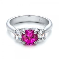 Custom Pink and White Sapphire Engagement Ring 14k White Gold Ring Pink Sapphire 2 Round diamonds .50 ctw
