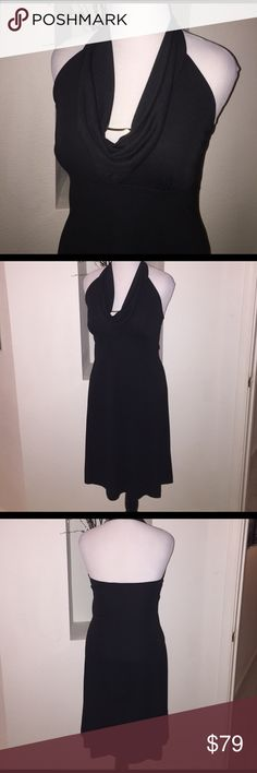 """Scoop Halter LBD Sexy scoop neckline with gold metal accent.  Flattering silhouette.  42"""" long from shoulders to hem.  Laying flat 16""""-18"""" across bust, 16"""" waist Lisa Jo Dresses"""