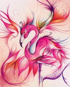 Pretty colours and shapes flamingo Flamingo Painting, Flamingo Decor, Pink Flamingos, Flamingo Gifts, Flamingo Tattoo, Dragons, Free Machine Embroidery Designs, Pretty Birds, Bird Art