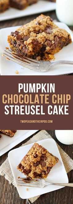 Pumpkin Chocolate Chip Streusel Cake-a simple pumpkin cake with chocolate chips and topped with a sweet cinnamon streusel topping! This is a favorite fall dessert!