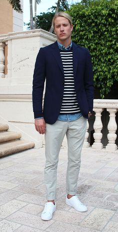 Great mens outfit summer. Breton stripes, denim shirt and chinos. Click through to see the rest!