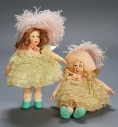 Apples - An Auction of Antique Dolls: 299 Pair of Italian Felt Miniature Dolls by Lenci