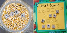 Manipulative,:letter recognition, word work: Find the letter tiles in the corn, then put them on the word search.great letter identification and practice reading simple words! It would be cute to switch out corn for other things {seasonal} Alphabet Activities, Educational Activities, Learning Centers, Fun Learning, Literacy Stations, Work Stations, Literacy Centers, Letter Identification, Early Childhood Education