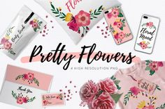 FREE Pretty Flowers Pack By TheHungryJPEG