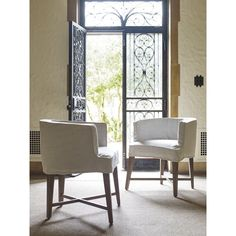 Universal White/Khaki Fabric/Poplar Slip-covered Barrel Chairs (Set of 2) | Overstock.com Shopping - The Best Deals on Dining Chairs