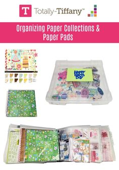 Organize paper collections and paper pads by using Tiffany Spaulding's (Totally-Tiffany) 4 section system and paper storage solutions. Plastic Box Storage, Paper Storage, Paper Organization, Book Crafts, Paper Crafts, Craft Room Design, Rainbow Paper, Christmas Paper, Scrapbooks