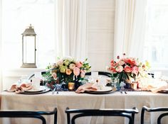 Head Table with Colorful Centerpieces