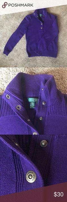 Ralph Lauren purple sweater Perfect condition Ralph Lauren purple sweater. Size medium. Half button down. 100% cotton Ralph Lauren Sweaters