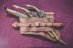 #Ottoman #leather #weapons #belt #selahlik #silahlik) worn throughout the Ottoman Empire, made from layers of leather containing slips to hold a yatagan sword and other weapons. #history #Balkans #handmade #craft