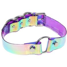 O-Ring Holographic Iridescent Choker (140 BRL) ❤ liked on Polyvore featuring jewelry, iridescent jewelry, buckle jewelry and holographic jewelry