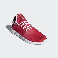 Pharrell Williams x adidas Tennis HU Holi Pack Scarlet Pharrell Williams, Scarlet, Williams Tennis, Basket A Talon, Le Tennis, Sneaker Release, Adidas Sport, Color Lines, Adidas Originals