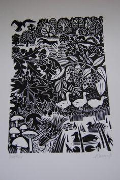 Carry Ackroyd lino print