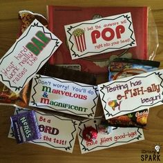 Candy and Snack Motivational Test Phrases Employee Appreciation Gifts, Teacher Appreciation Week, Student Gifts, Teacher Gifts, Testing Treats For Students, Student Motivation, Test Prep, Encouragement, Party