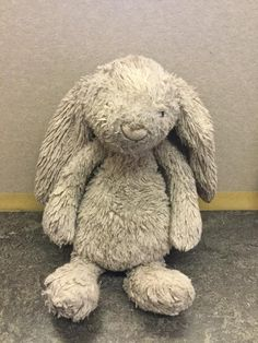 Found on 07 Dec. 2015 @ Fernhurst, Haslemere, Surrey. FOUND - A Grey Jellycat Bunny around 7th December 2015. It was found in the mud down a country lane, wet and soggy. I would love to find the owner of this much loved bunny. Visit: https://whiteboomerang.com/lostteddy/msg/hyx867 (Posted by Lizzie on 11 Jan. 2016)