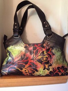 Hand Painted Purse Fire Flower by Scheibershop on Etsy, $50.00